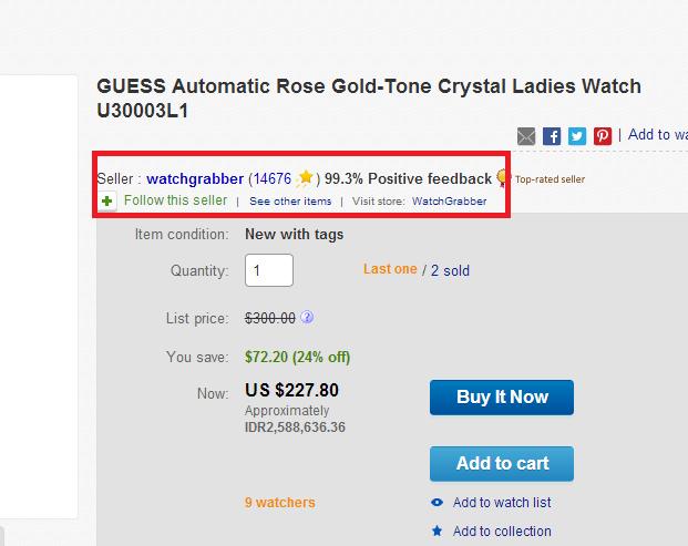 Melihat feedback seller ebay