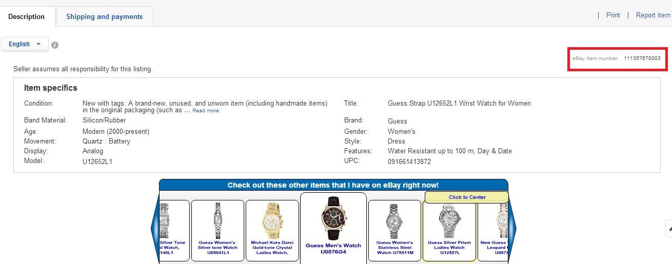 melihat item number ebay 2