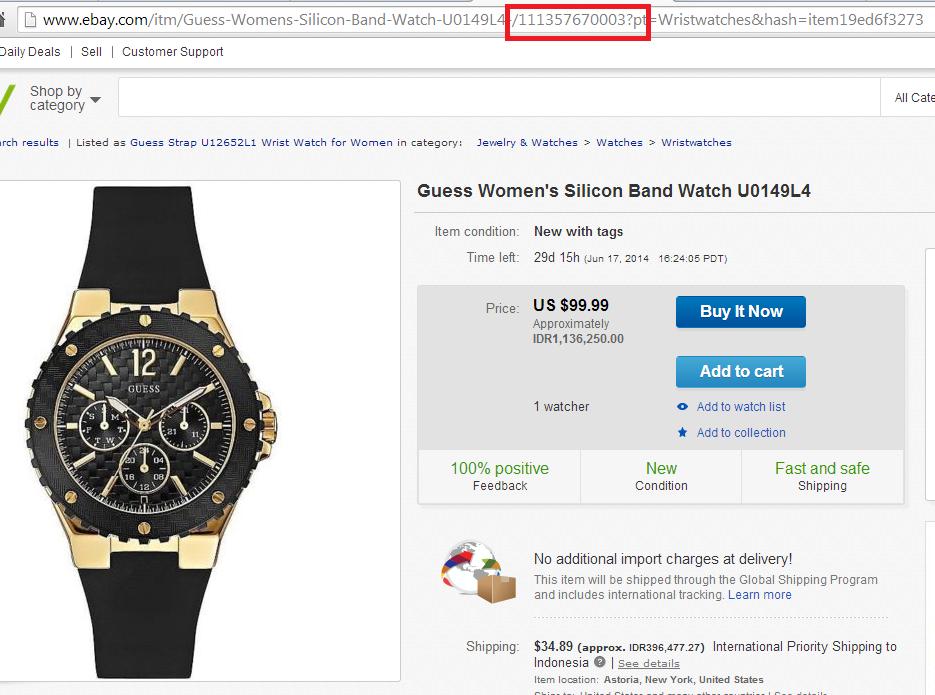 melihat item number ebay